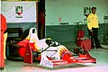 Luca Badoer`s Lola T93-30 in the pit garage at the 1993 British Grand Prix (33686686715).jpg