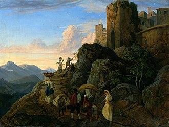 Adrian Ludwig Richter - Civitella (Evening) (1827 - 1828)
