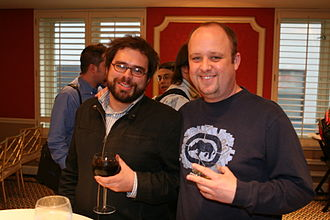 Luke Smith (writer) - Smith (left) with Microsoft's Aaron Greenberg in San Francisco, March 2007