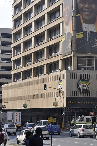 Luthuli House in Johannesburg, which became the ANC headquarters in 1991 Luthuli House.jpg
