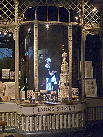 Nippy - A Lyons Corner House recreated in the Museum of London uses back-projected film of a nippy serving customers
