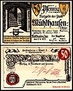 Mühlhausen (Thür) 50 Pfennig 1921 RV Wallenstein.jpg