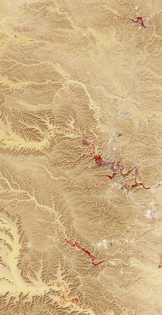 M'zab - False colour satellite image of M'zab Valley.