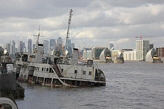 MV Royal Iris - MV Royal Iris taking in water, east of Thames Barrier in London (February 2019).