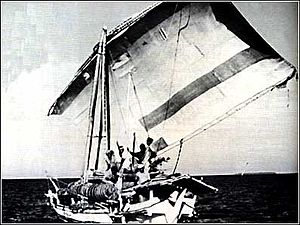 Arnhem Land - A Macassan wooden sailboat or prau of the type trepangers have used for centuries