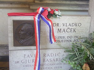 Vladko Maček - Maček's memorial in the Peasant Party's arcade in Mirogoj
