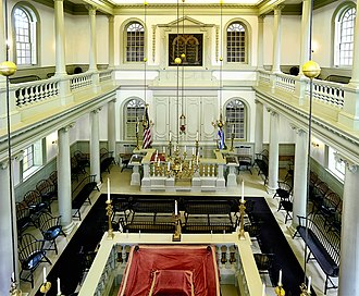 Religious views of George Washington - Interior of the Touro Synagogue, where Washington addressed his famous letter in support of freedom of religion in the United States