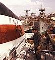 Magyar Hajó- és Darugyár Angyalföldi Gyáregysége, Tartu típusú tengeri áruszállító hajó kéménye. Fortepan 26410.jpg