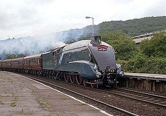 Streamliner - Mallard, a streamlined LNER class A4 pacific, official holder of the world top speed record for steam locomotives