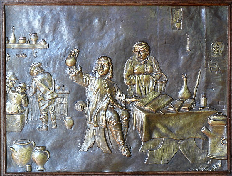 Embossed copper depicting a pharmacy (?) in Oostmalle Renesse castle.