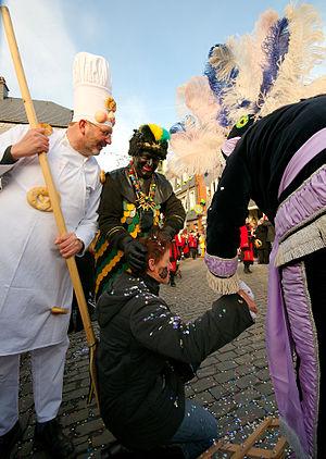 Malmedy - Cwarmê, Sunday. Haguète and others traditional costumes.