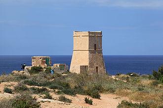 Lascaris towers - Image: Malta Mgarr Triq Ghajn Tuffieha Ghajn Tuffieha Tower 03 ies
