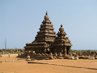 History of Tamil Nadu - Shore Temple in Mamallapuram built by the Pallavas. (c. eighth century CE)