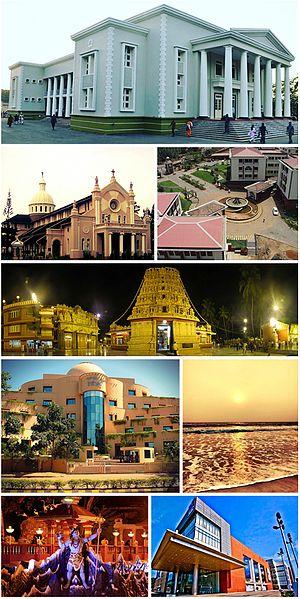 Mangalore - Left to right: Town Hall, Our Lady of Rosary Church, Yenepoya University, Kudroli Gokarnanatheshwara Temple, Infosys Kottara campus, Tannirbhavi Beach, Shiva statue, Forum Fiza Mall