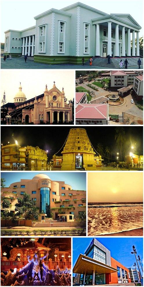 Left to right: Town Hall, Our Lady of Rosary Church, Yenepoya University, Kudroli Gokarnanatheshwara Temple, Infosys Kottara campus, Tannirbhavi Beach, Shiva statue, Forum Fiza Mall