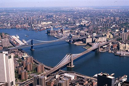 Manhattan and Brooklyn bridges on the East River, New York City, 1981