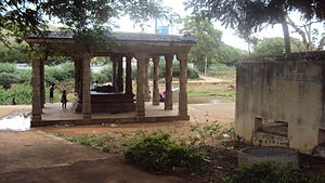 Alwarkurichi - Mani mandapam on the banks of river in Sivasailam.