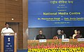 Manish Tewari addressing at the inauguration of the National Media Centre, in New Delhi. The Prime Minister, Dr. Manmohan Singh, the Chairperson, National Advisory Council, Smt. Sonia Gandhi and the Secretary.jpg