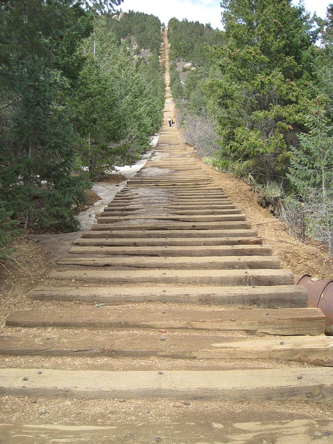 English: This is a shot of the Manitou Incline...