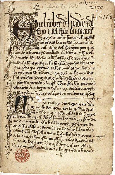 Libro de la caza de las aves BnF, ms. esp. 292, f. 1r