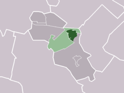 The village of Odijk (darkgreen) and the neighbourhood of Odijk (lightgreen) in the municipality of Bunnik.