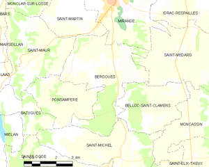Berdoues - Berdoues and its surrounding communes