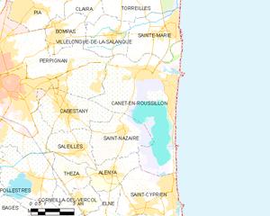 Canet-en-Roussillon - Map of Canet-en-Roussillon and its surrounding communes