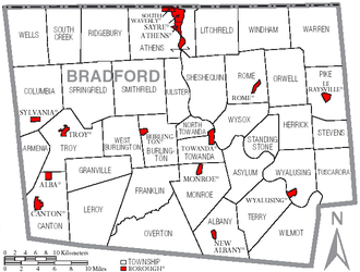 Bradford County, Pennsylvania - Map of Bradford County, Pennsylvania with Municipal Labels showing Boroughs (red) and Townships (white).