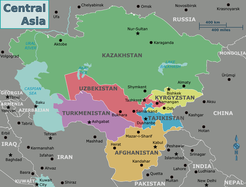 A contemporary political map of Central Asia
