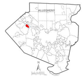 Map of Coraopolis, Allegheny County, Pennsylvania Highlighted.png