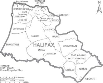 Halifax County, North Carolina - Map of Halifax County, North Carolina With Municipal and Township Labels