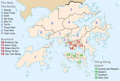 The main territory of Hong Kong consists of a peninsula bordered to the north by Guangdong province, an island to the south east of the peninsula, and a smaller island to the south. These areas are surrounded by numerous much smaller islands.