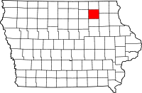 Map of Iowa highlighting Chickasaw County