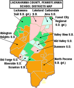 Map of Lackawanna County Pennsylvania School Districts.PNG