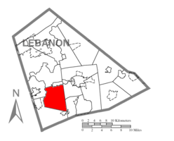Map of Lebanon County, Pennsylvania highlighting South Annville Township