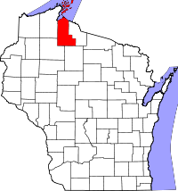 Map of Wisconsin highlighting Ashland County
