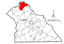 Map of York County, Pennsylvania highlighting Fairview Township
