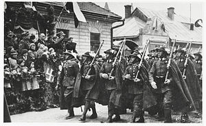 22nd Mountain Infantry Division (Poland) - Soldiers of the Polish 2nd Podhale Rifles Regiment in full gala dress-suit, Sanok, 1936
