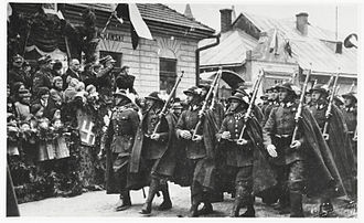 Podhale Rifles - Soldiers of the Polish 2nd Podhale Rifles Regiment in full gala dress-suit, Sanok, 1936