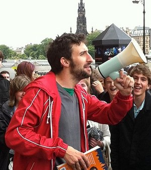 Mark Watson - Watson roaming Edinburgh book launch for Eleven in 2012