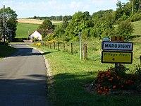 Marquigny (Ardennes) city limit sign.JPG