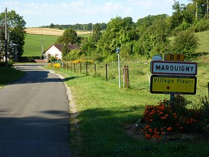 Marquigny (Ardennes) city limit sign.JPG