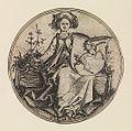 Martin Schongauer - Wappenschild mit Einhorn, von einer jungen Frau gehalten (L 96).jpg