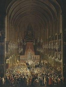 Trauungszeremonie in der Augustinerkirche zwischen Joseph und Isabella (Martin van Meytens, um 1760/65) (Quelle: Wikimedia)