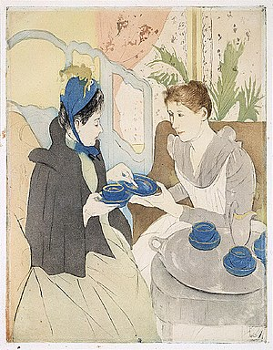 Tea party - Afternoon Tea Party c. 1891, by Mary Cassatt