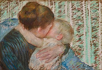Little Girl in a Blue Armchair - Image: Mary Cassatt Mother and Child (The Goodnight Hug)