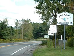 The Massachusetts state line along Route 102.