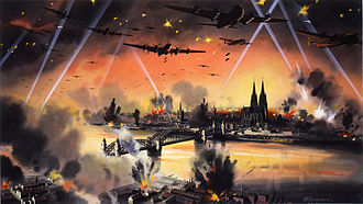 Bombing of Cologne in World War II - Official British war art imagining a bombing raid on Cologne. The city's cathedral is clearly visible. It survived the war, despite being hit dozens of times by Allied bombs.