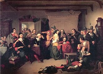 """Witches' mark - Oil painting """"Examination of a witch"""" by Tompkins Harrison Matteson (1853)"""
