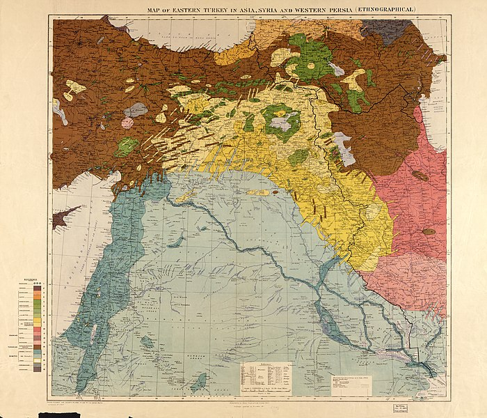 A 1910 British ethnographic map of the Middle East; Armenians shown in green, Kurds in yellow, Turks in brown; note concentrations of Armenians around Eastern Armenia, Lake Van, and Zeytun. In most places that they lived, Ottoman Armenians were a minority, although they often lived in homogenous villages.[5]